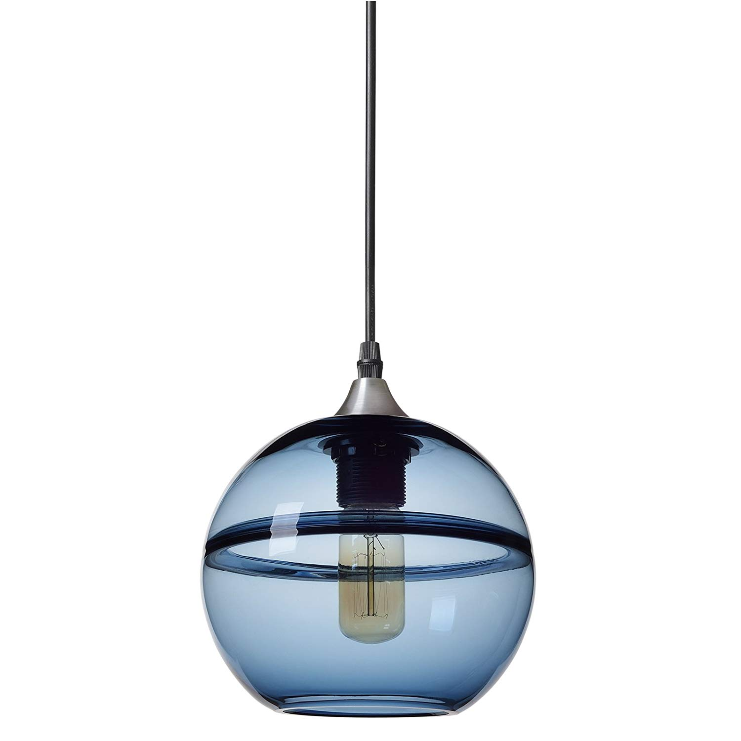 Pendant Lighting Handblown Glass Drop Hanging Light Unique Optic Glass Pendant Lamp Brushed Nickel Finish Grey Blue 7 Csm 0012 China Factory Suppliers Manufacturers