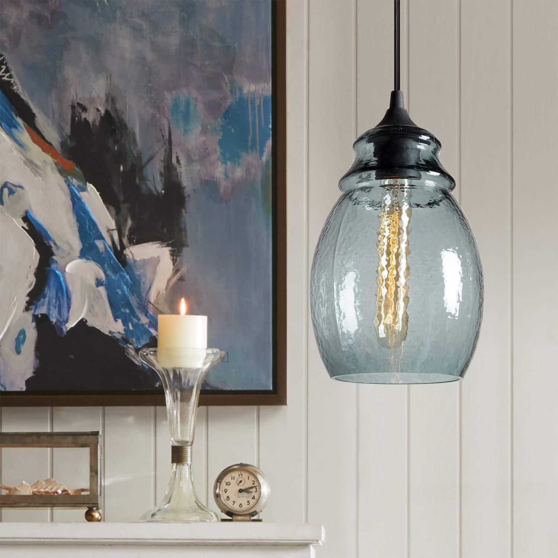 Pendant Light Handblown Glass Drop Hanging Light, Glass